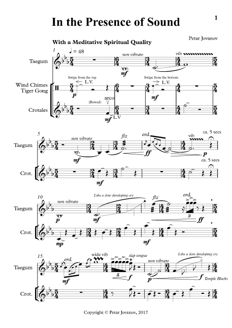 Pages from In the Presence of Sound Full Score